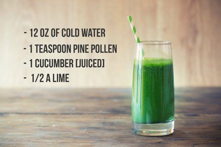 Cucumber, Lime and Pine Pollen Morning Detox Drink