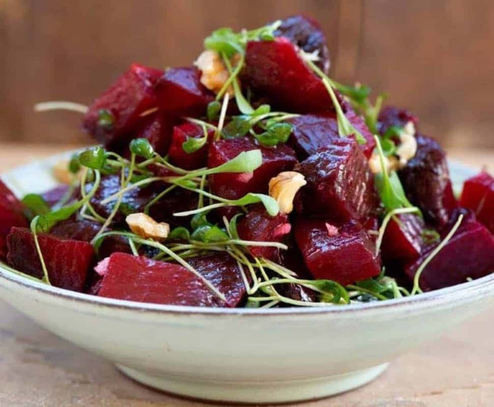 Beetroot salad with microgreens