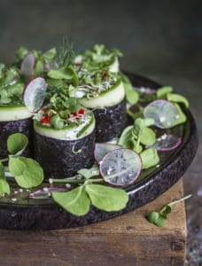 Nori and cucumber rolls with hemp seed cheese