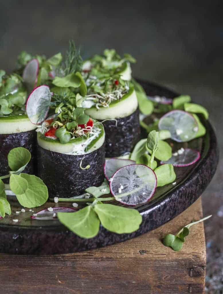 Nori and cucumber rolls with hemp seed cheese