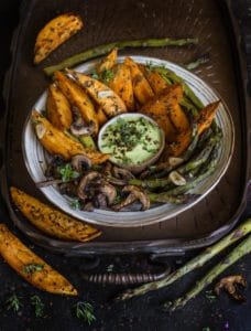 Roasted veggies with cucumber dip