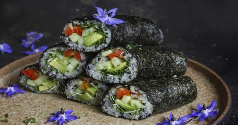 Sushi rolls with jicama 'rice'