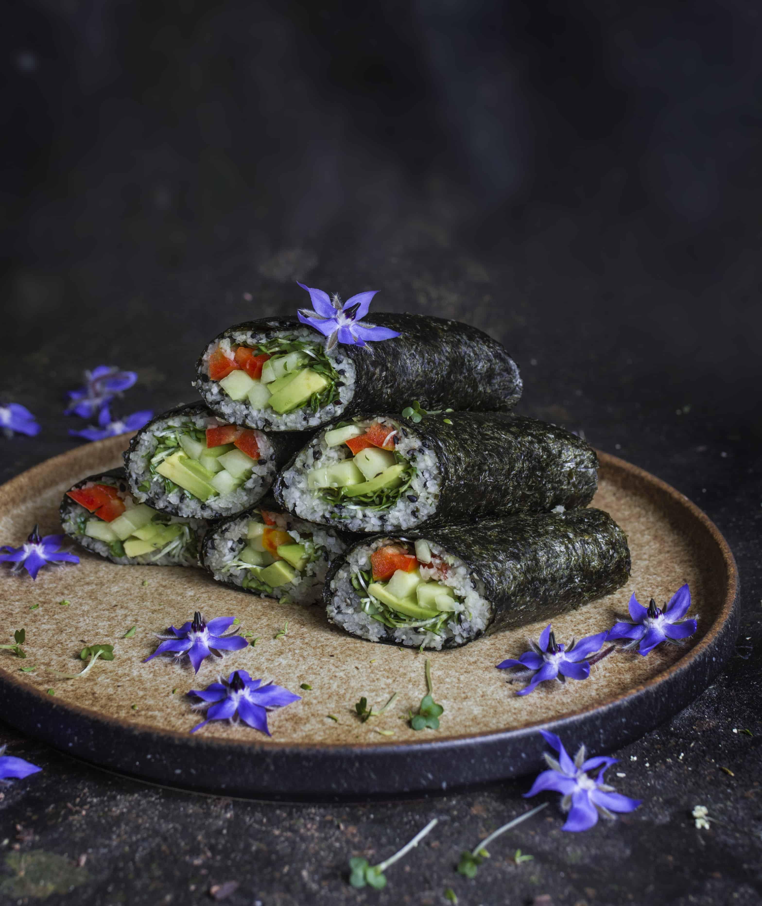 Sushi rolls with jicama 'rice'